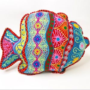 Colorful Boho Fish Throw Pillow